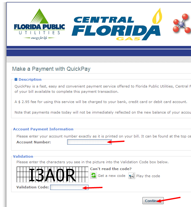 Florida Public Utilities Bill Payment onetime