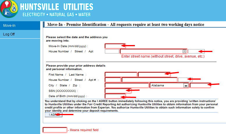 Huntsville Utilities Bill Pay register