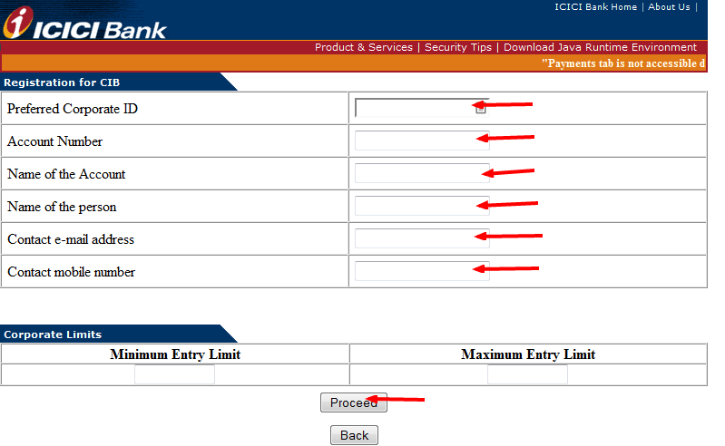 ICICI Bill Payment Options register