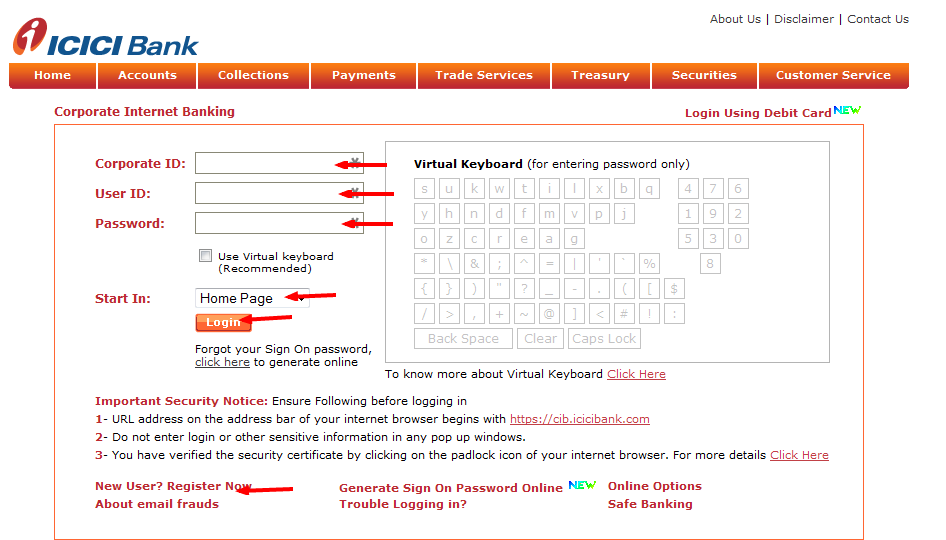 ICICI Bill Payment Options