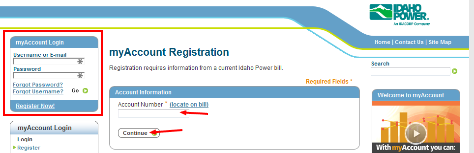 IdaCorp Power Bill Pay register