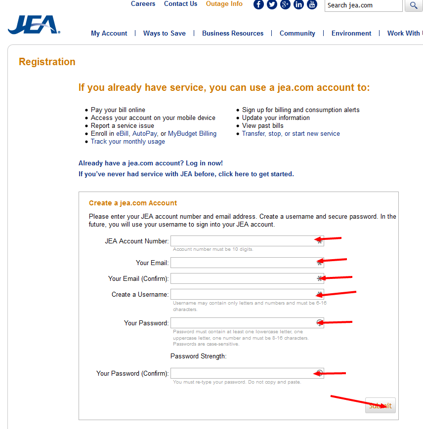 JEA Bill Pay register