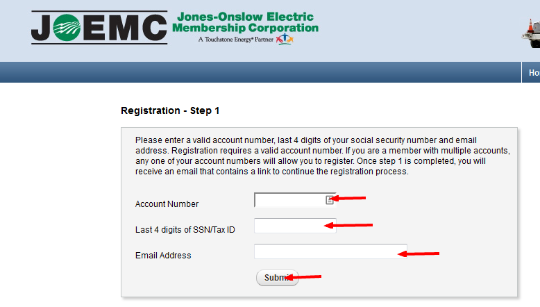 Jones Onslow Electric Bill Pay register