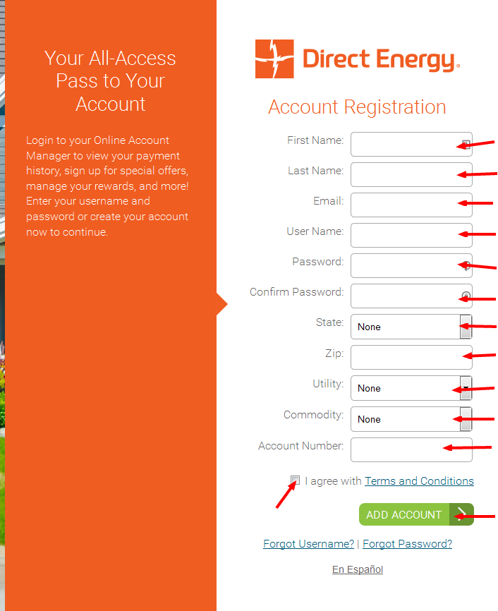 Just Energy Bill Pay register