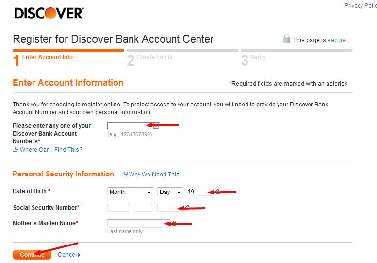 Discover Bill Payment register